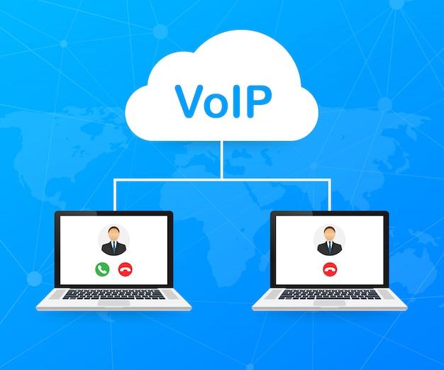 Voipテクノロジー、voice over ip。インターネット呼び出しバナー。