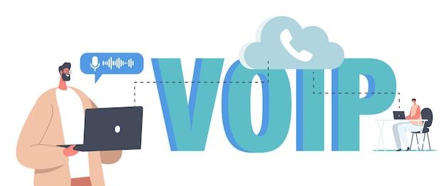Voip, voip 기술 개념을 통한 음성. 캐릭터는 무선 전화 연결을 사용합니다. 통신 시스템, 클라우드 스토리지 또는 네트워크를 통한 전화 통신. 만화 사람들 벡터 일러스트 레이 션