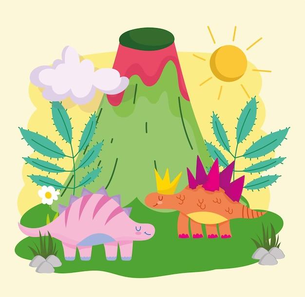 Извержение вулкана и динозавры