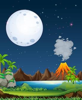 화산 폭발 야외 장면 배경