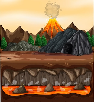 Volcanic eruption outdoor scene background