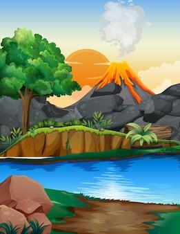 火山噴火屋外シーンの背景