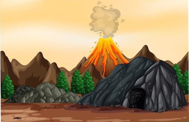 Illustrazione di scena all'aperto di eruzione vulcanica
