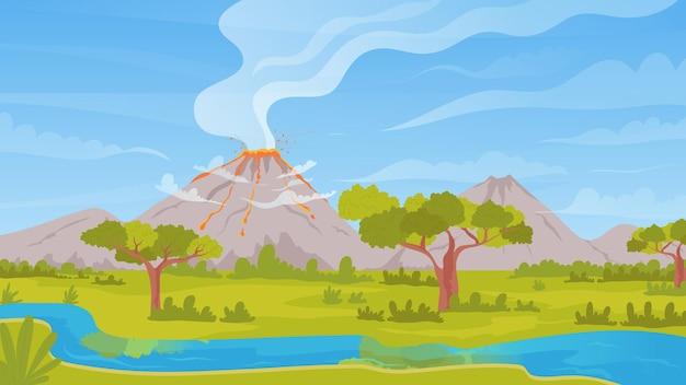 溶岩火山の熱い灰の煙の自然災害と火山の活発な噴火熱帯の自然の風景