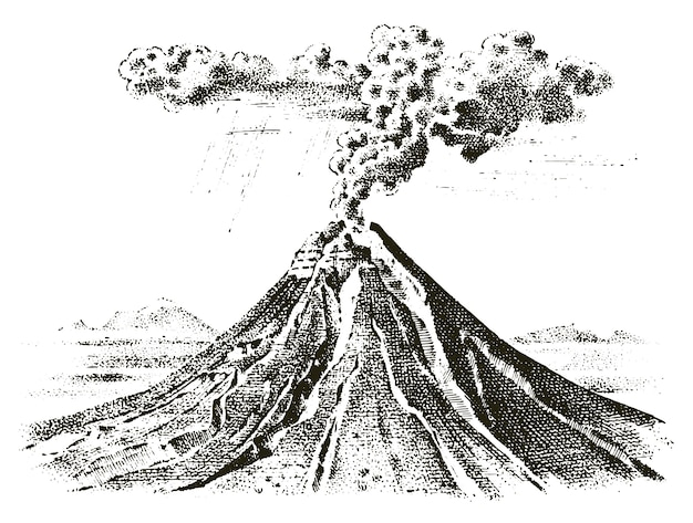 Volcano activity with magma, smoke before the eruption and lava or nature disaster. for travel, adventure.