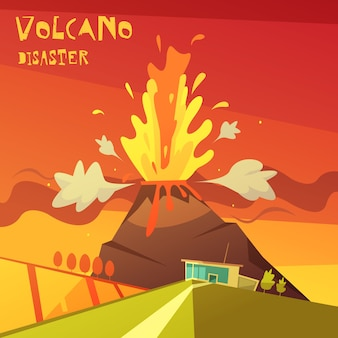 Volcano disaster illustration