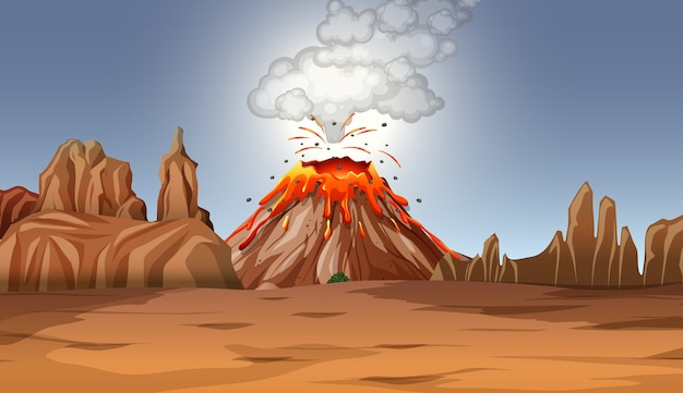 Volcano eruption in desert scene at daytime