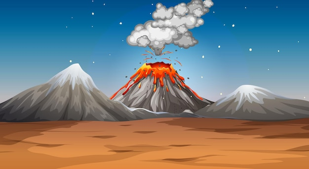 Volcano eruption in desert scene at night