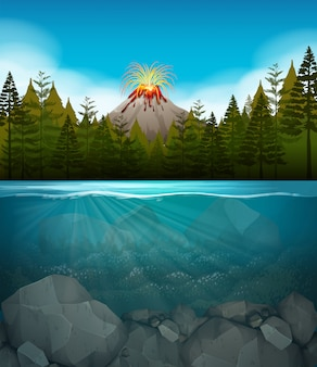 Volcano eruption at the forest