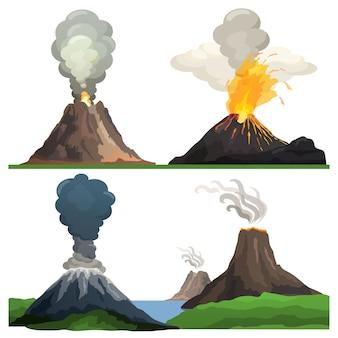 Volcano eruption on illustration white
