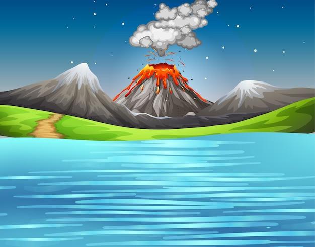 Извержение вулкана в природе лесной сцены в дневное время
