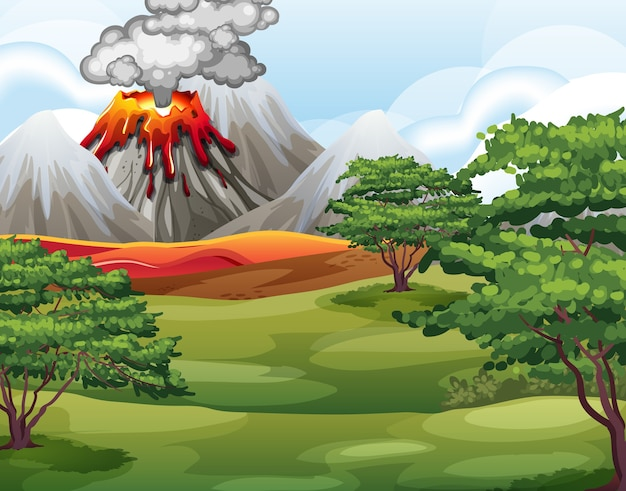 Volcano eruption in nature forest scene at daytime