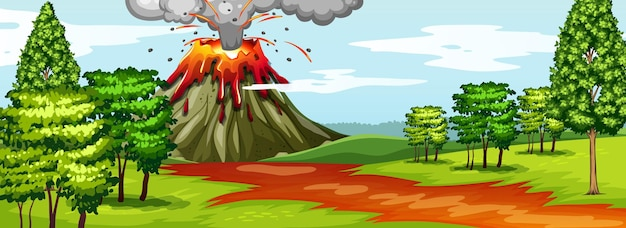 Volcano eruption in nature forest scene at daytime Premium Vector
