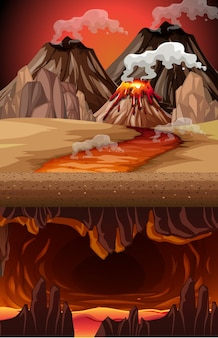 Volcano eruption in nature scene at daytime and infernal cave with lava scene