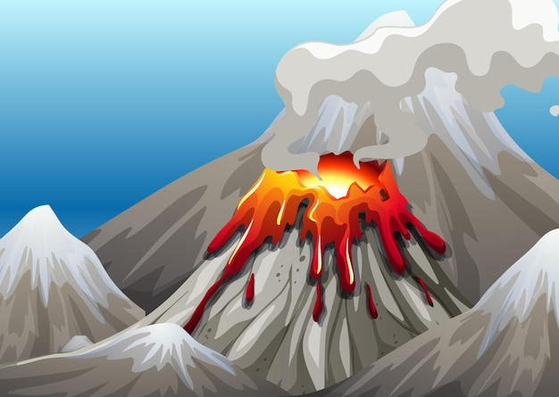 Volcano eruption in nature scene at daytime