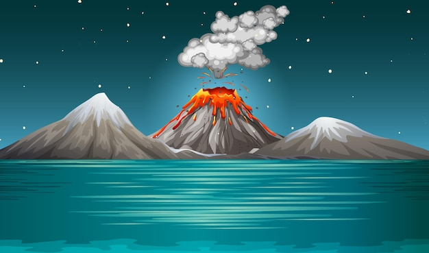 Volcano eruption in nature scene at night