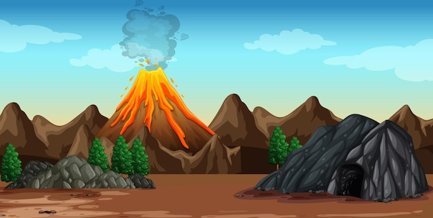 Volcano eruption in nature scene