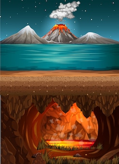 Volcano eruption in ocean scene and infernal cave with lava scene