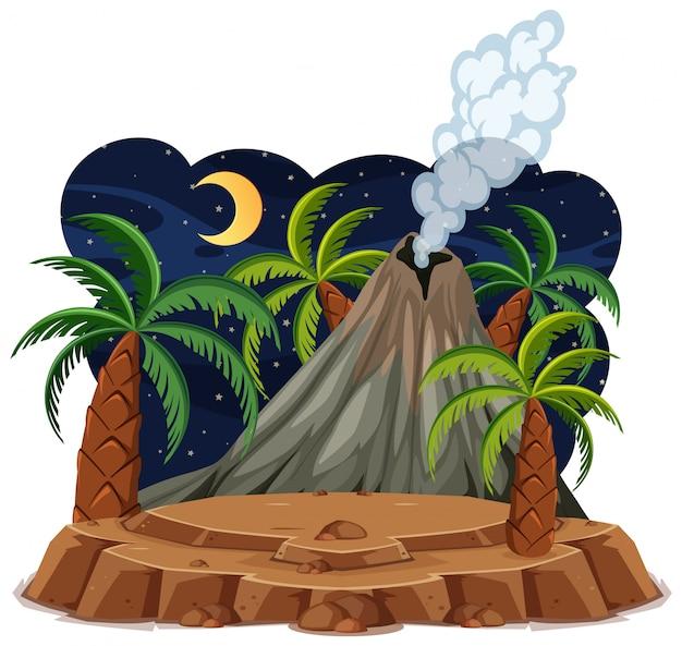 Volcano eruption set cartoon style isolated on white background