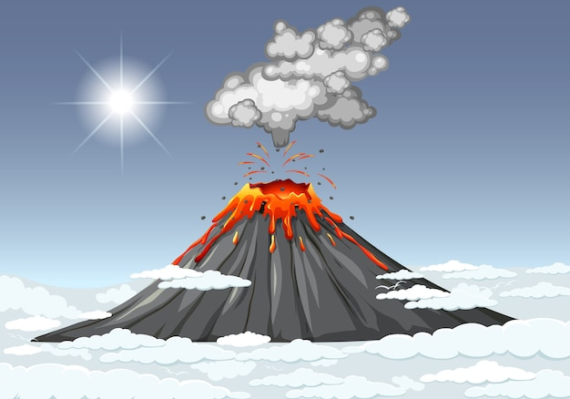 Volcano eruption in the sky with clouds scene at daytime