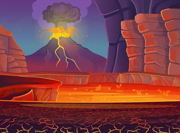 火山の噴火。ベクトル漫画イラスト。