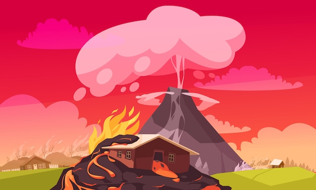 Volcano eruption with burning house