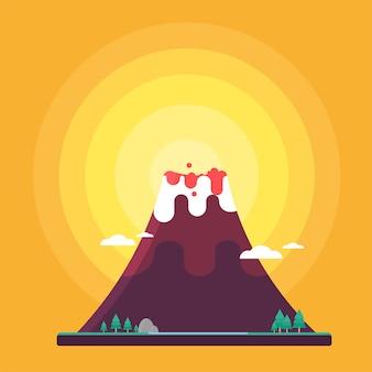 Volcano Flat Cute Style Vector Illustration