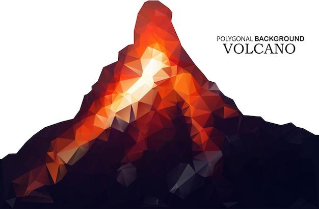 低ポリゴンスタイルの火山。デザインの抽象的な背景。ベクトル図