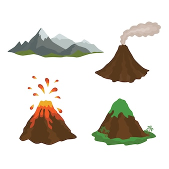 용암이 아래로 흐르는 폭파 화산 마그마 자연 세트