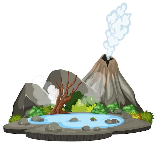 Volcano nature island scene