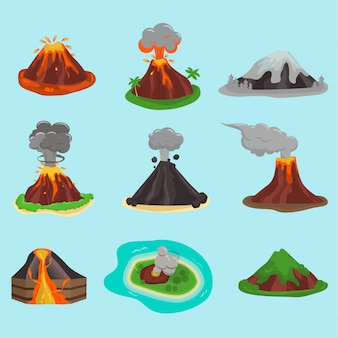 Volcano set on blue