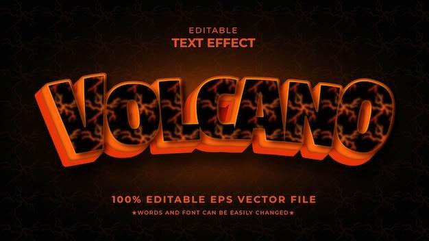 Volcano text effect editable vector f