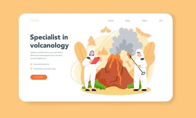 Volcanologist web banner or landing page