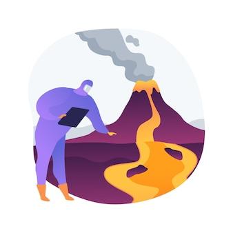 Illustrazione di vettore di concetto astratto di vulcanologia. studio dell'eruzione vulcanica, disciplina vulcanologica, studio universitario, istruzione post laurea, ricerca scientifica e metafora astratta di previsione.