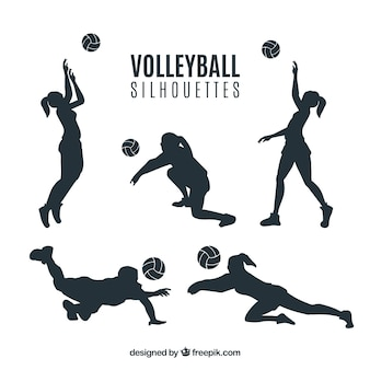 Voleyball coloured uniform silhouettes