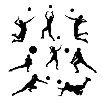 Volley ball athlete with style and pose silhouettes