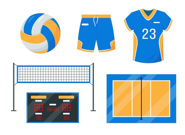 Volley ball set. sport equipment and accessories.
