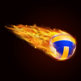 Volley ball with fire effect illustration