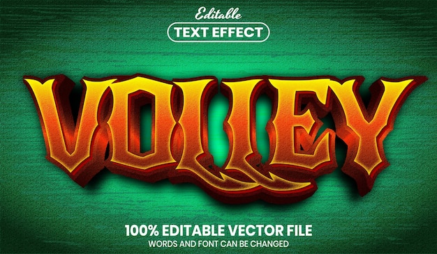 Volley text, font style editable text effect
