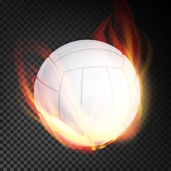 Volleyball ball in fire