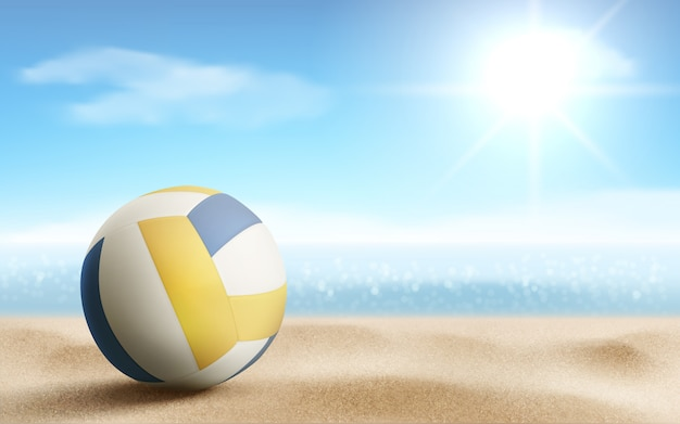砂浜のイラスト、ベクトルにバレーボールボール