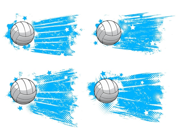 Volleyball ball, sport club halftone blue banners