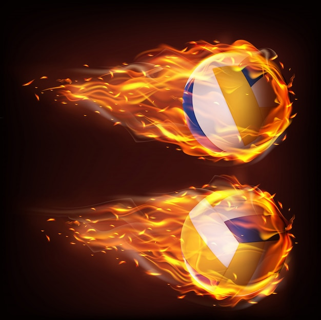Volleyball balls flying in fire, falling in flame