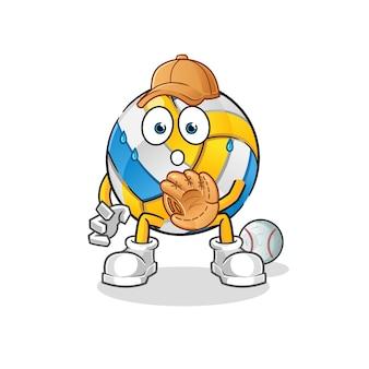 Volleyball baseball catcher cartoon character