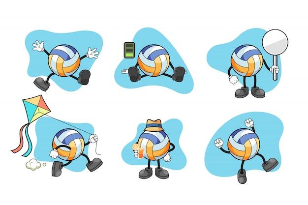 Volleyball cartoon character set