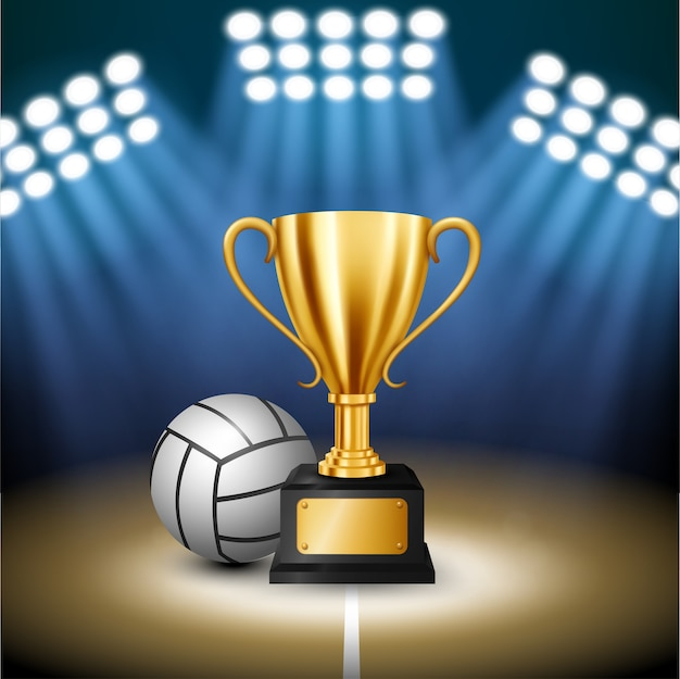 Volleyball championship with golden trophy and volleyball