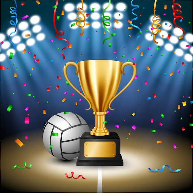 Volleyball championship with golden trophy