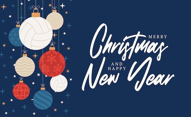 배구 크리스마스 인사말 카드입니다. 기쁜 성 탄과 새 해 복 많이 받으세요 평면 만화 스포츠 배너입니다. 배경에 크리스마스 공으로 배구 공입니다. 벡터 일러스트 레이 션.