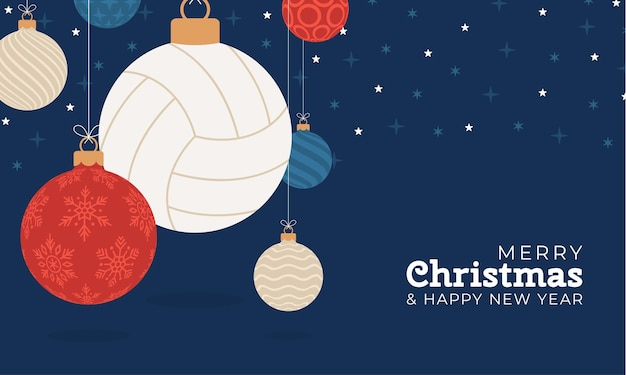Volleyball christmas greeting card. merry christmas and happy new year flat cartoon sports banner. volleyball ball as a xmas ball on background. vector illustration.
