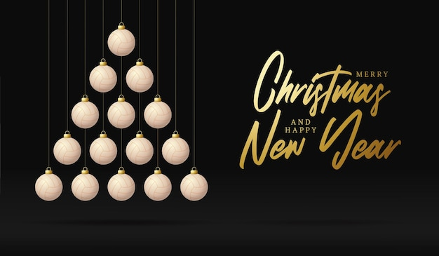 Volleyball christmas and new year greeting card bauble tree. creative xmas tree made by volleyball ball on black background for christmas and new year celebration. sport greeting card